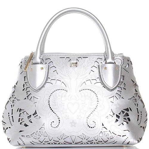 Маленькая сумка Cavalli Class Stardust серебристого цвета с декоративной перфорацией, фото
