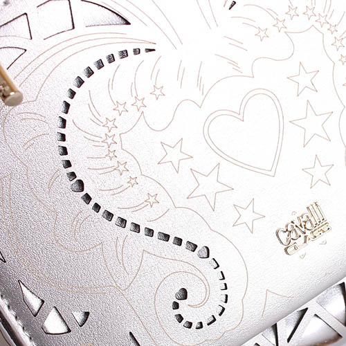 Рюкзак Cavalli Class Stardust серебристого цвета с декоративной перфорацией, фото