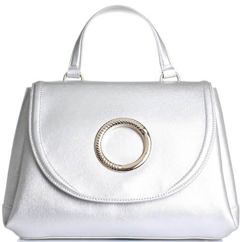 Серебристая сумка Cavalli Class Cosmo из кожи Сафьяно с фирменной змеей на клапане, фото