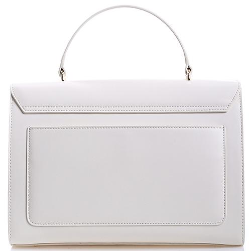 Сумка белого цвета Cavalli Class Leopride с декоративной молнией, фото