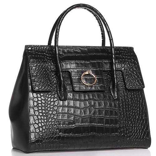 Черная сумка-тоут Cavalli Class Diletta с тиснением кроко, фото