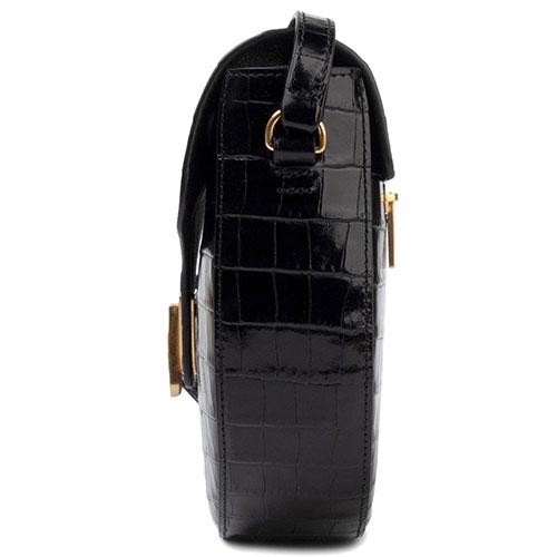 Сумка кросс-боди Coccinelle Beat Croco с теснением кроко черного цвета, фото