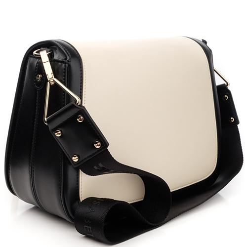 Бежевая сумка Elisabetta Franchi с черным кантом, фото