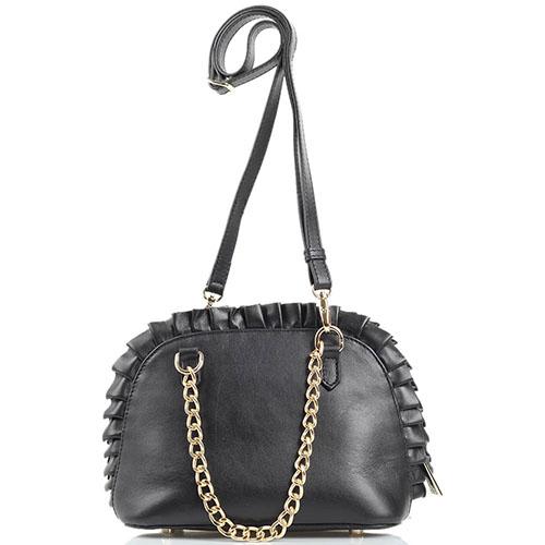 Маленькая кожаная сумочка Jacky Celine черного цвета декорированная кожаными валанами, фото