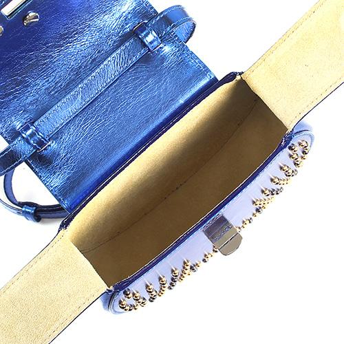 Сумка синего цвета из полированной кожи Salar Mimi Star декорированная мелкими заклепками, фото