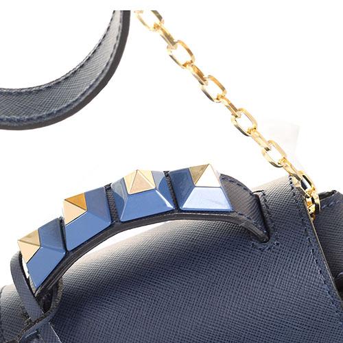 Сумочка из кожи сафьяно и замши украшенная шипами на ручке Salar Carol синего цвета, фото