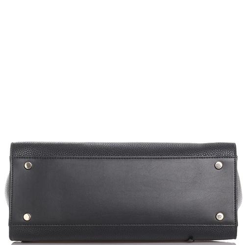 Черная сумка из зернистой кожи Baldinini Daisy с плетеными ручками, фото