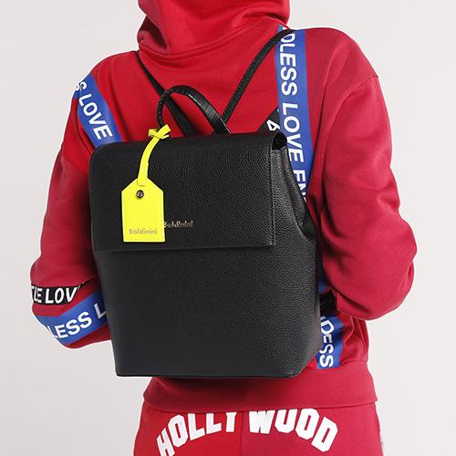 Черный рюкзак Baldinini Daisy из зернистой кожи, фото