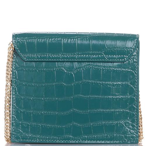 Маленькая сумка Baldinini Isabel Micam из зеленой кожи с тиснением кроко, фото