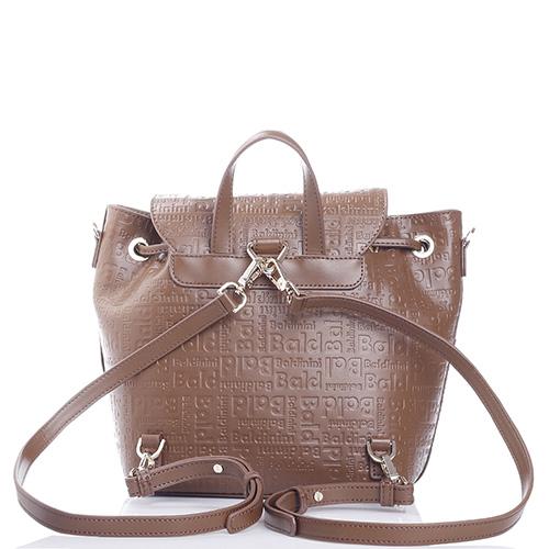 4b3e152c98ee Коричневая сумка-рюкзак Baldinini Greta с фирменным тиснением, фото