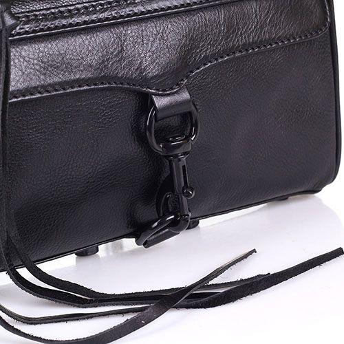 Наплечная сумка Rebecca Minkoff из мягкой кожи черного цвета с передним клапаном, фото