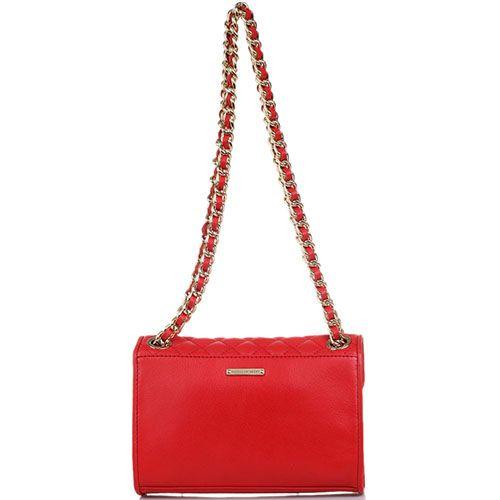 Кожаная стеганая сумочка Rebecca Minkoff красного цвета на ремешке-цепочке, фото