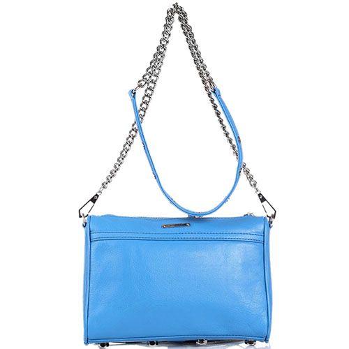 Наплечная сумка Rebecca Minkoff кожаная лазурного цвета с наружным карманом и клапаном, фото
