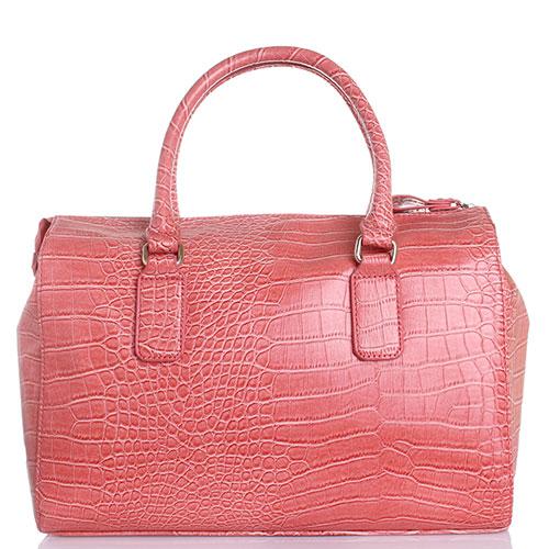 Розовая сумка Byblos Blu из тисненной под рептилию кожи с серебристыми кистями, фото