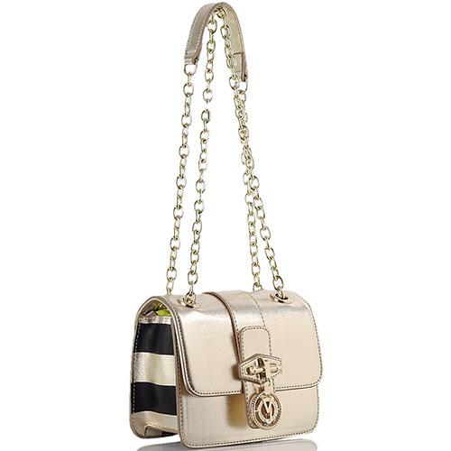Золотистая маленькая сумка Versace Jeans прямоугольной формы, фото