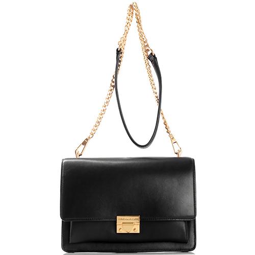 Черная сумка Rebecca Minkoff прямоугольной формы из гладкой кожи, фото