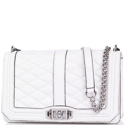 Наплечная сумка Rebecca Minkoff из стеганой кожи белого цвета на ремешке-цепочке, фото