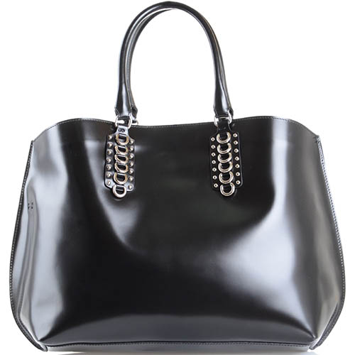 Черная сумка-шопер John Richmond Diana Ross из полированной кожи, фото