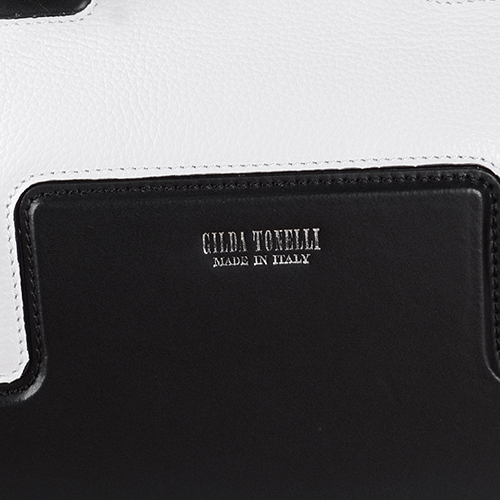 Сумка формы Gilda Tonelli из комбинации белой и черной кожи, фото