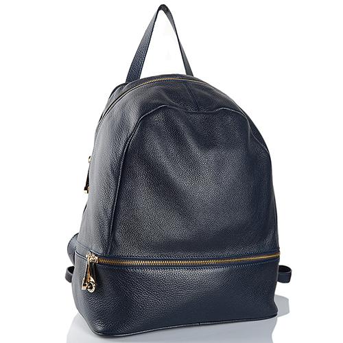Рюкзак из синей зернистой кожи Di Gregorio, фото