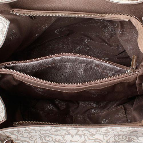 Сумка из мягкой белой кожи Marina Creazioni с принтом, фото