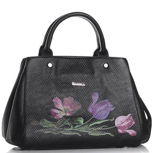 Черная сумка Marina Creazioni с цветочным принтом, фото