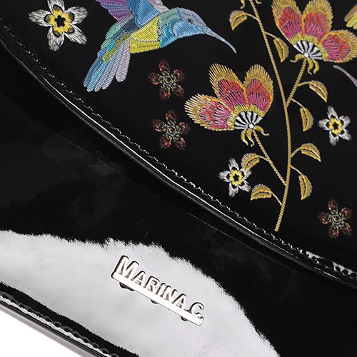 Лаковая сумка Marina Creazioni черного цвета, фото