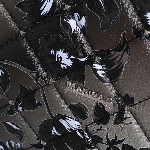 Черная сумка Marina Creazioni с геометрической стежкой, фото