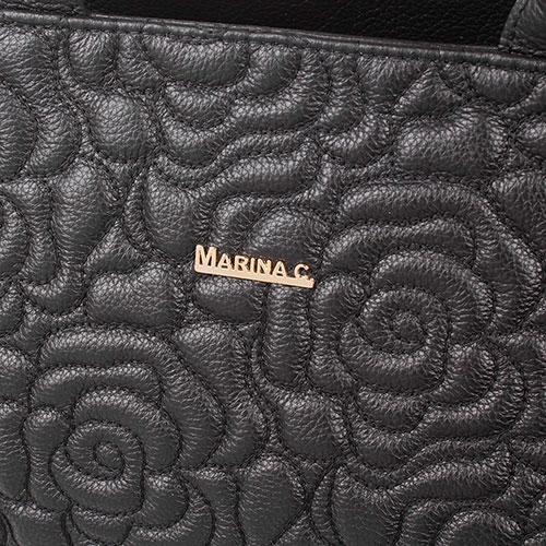 Сумка из черной зернистой кожи Marina Creazioni с декоративной стежкой, фото