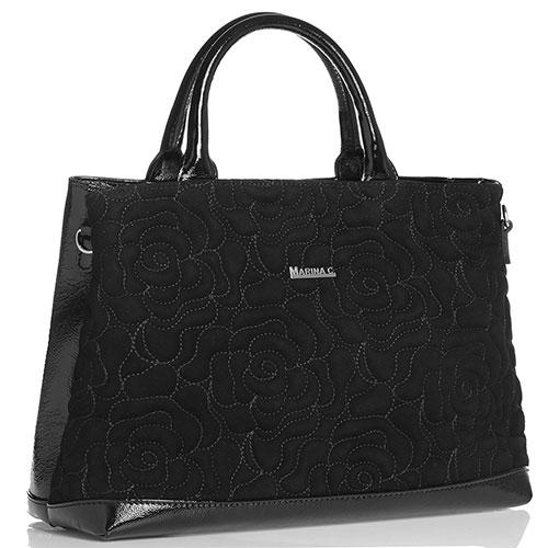 Коричневая сумка Marina Creazion с принтом-цветы, фото