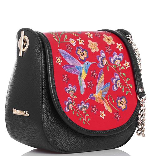 Черная сумка Marina Creazioni с красным клапаном, фото
