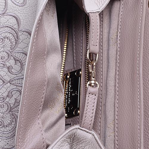 Бежевый рюкзак Marina Creazioni с флористической вышивкой, фото