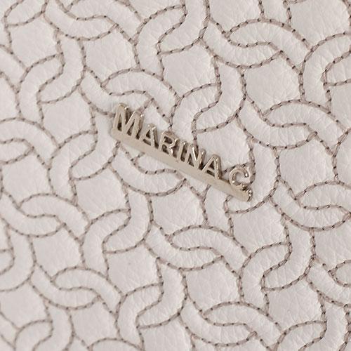 Сумка-тоут белая Marina Creazioni с фигурной стежкой, фото