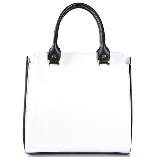 Белая сумка прямоугольной формы Gilda Tonelli с накладным карманом, фото