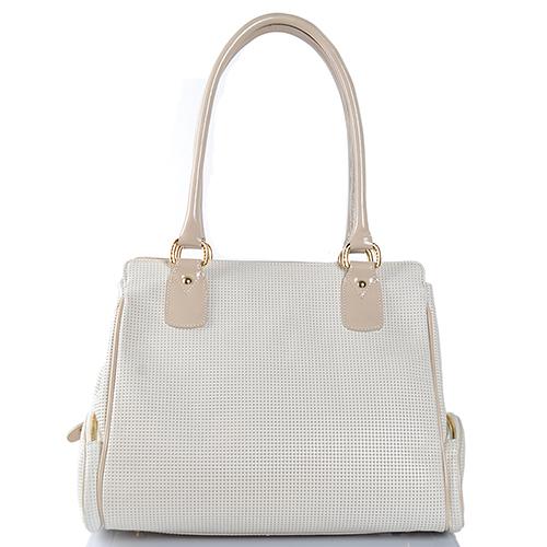 Бежевая сумка Gilda Tonelli из кожи с декоративной перфорацией, фото