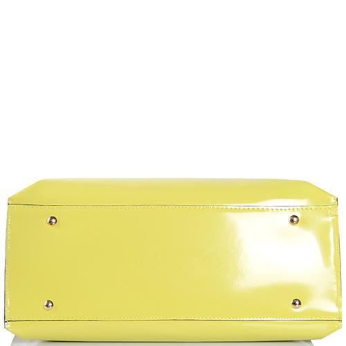 Сумка-шоппер Gilda Tonelli из полированной кожи желтого цвета, фото