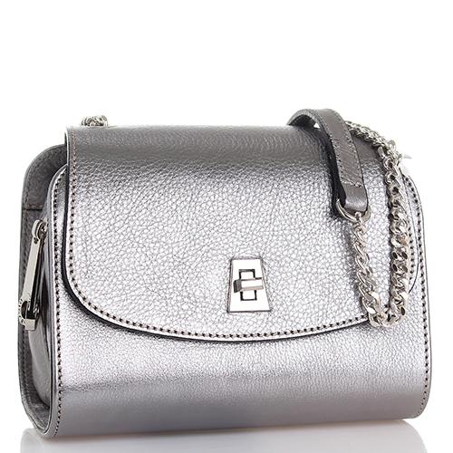 7a9911861d50 Маленькая сумка Di Gregorio из зернистой кожи серебристого цвета, фото