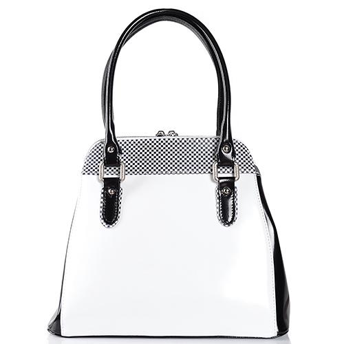 Белая сумка трапециевидной формы Gilda Tonelli с черными элементами, фото