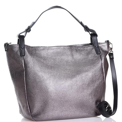 Серая сумка Gilda Tonelli на широком ремне черного цвета, фото