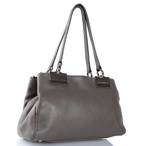 Серая сумка Di Gregorio из мягкой зернистой кожи, фото