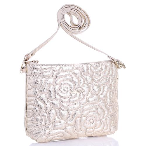 Золотистая сумка Marina Creazioni с декоративной стежкой, фото