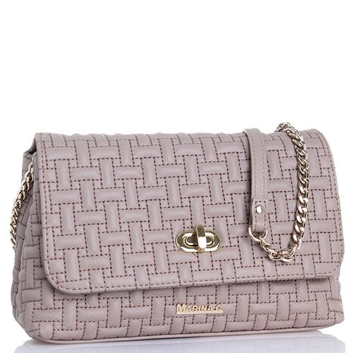 Маленькая сумка Marina Creazioni из простеганной кожи бежевого цвета, фото