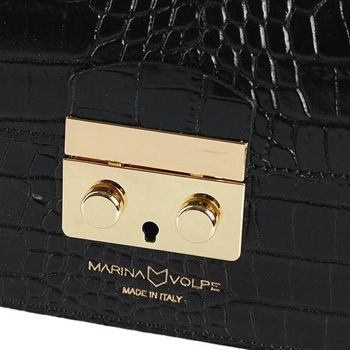 Сумка черного цвета Marina Volpe из кожи с тиснением, фото