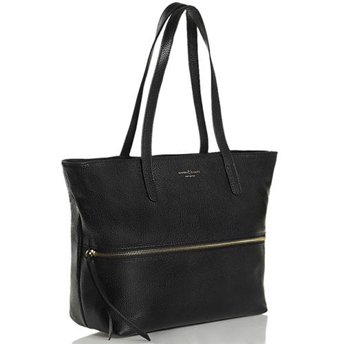 Черная сумка-тоут Marina Volpe из крупнозернистой кожи, фото