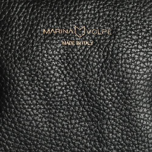 Сумка черного цвета Marina Volpe из зерностой кожи, фото