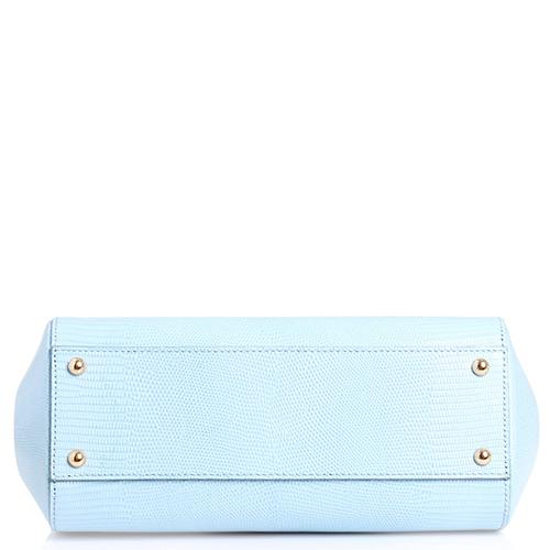 Сумка Dolce&Gabbana голубого цвета с декором-стразами, фото