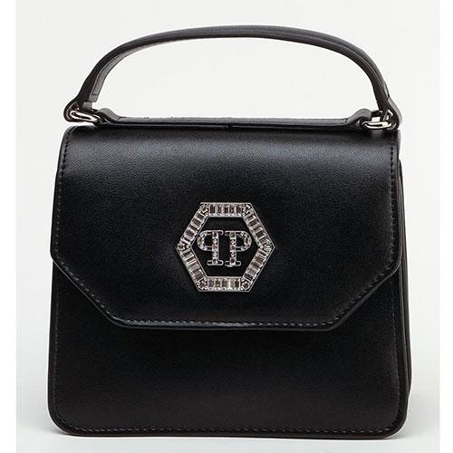 Черная сумка Philipp Plein с металлической нашивкой, фото