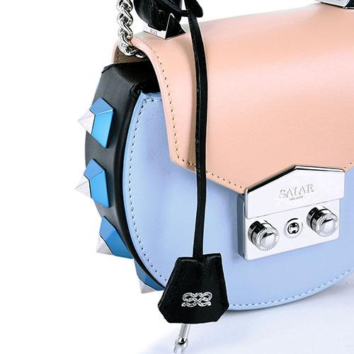 Сумка Salar Mimi Mini из кожи голубого цвета с шипами, фото