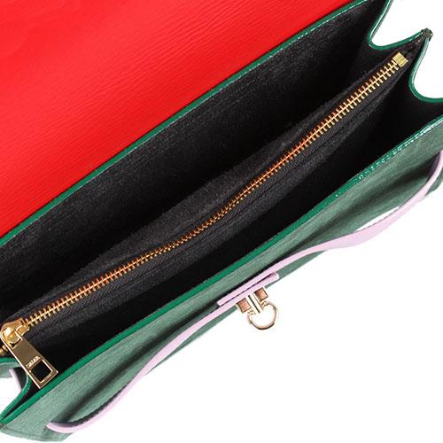 Сумка Salar из комбинации зеленой замши с красной и сиреневой кожей, фото