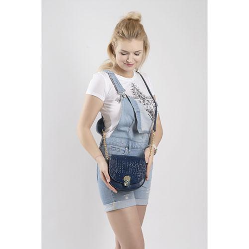 Синяя сумка Gilda Tonelli с замком в форме ракушки, фото